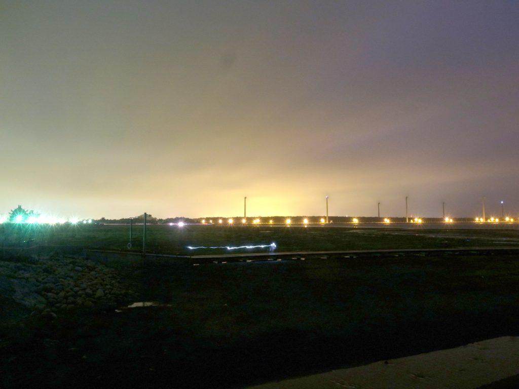 高美湿地夕方